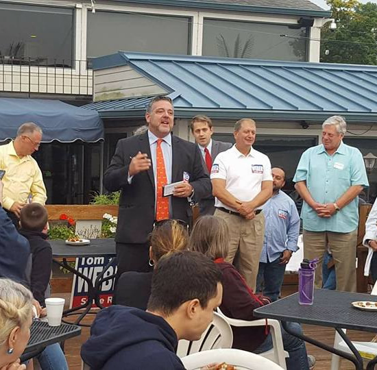 Dick Barr speaking at D64 Representative Candidate Tom Webers campaign kick off