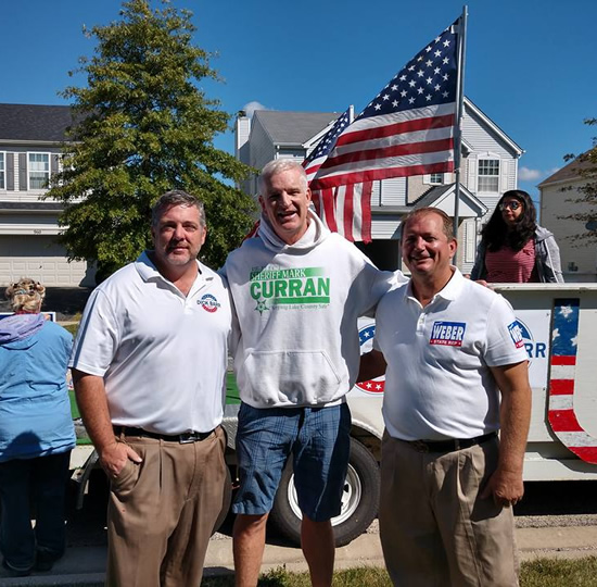 Dick Barr, Sheriff Mark Curran and Lake County Board Member Tom Weber at Round Lake Heights Parade